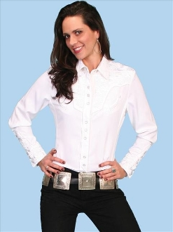 "This ""Lady Gunfighter"" Scully womens White western shirt is a popular matching western shirt for his and hers matching shirts with embroidered floral top and back yokes with twisted piping and smiley pockets"