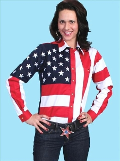 USA flag shirt, womens usa flag shirt, Scully American flag shirt, USA flag western shirt, ladies USA flag shirt, long sleeve western shirt, long sleeve usa flag shirt for women, American flag shirt by Scully