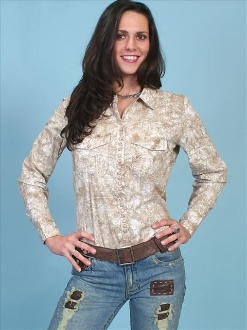 Women's Scully Tan Paisley western casual shirt