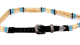 This Beaded Sterling Silver Turquoise stone Cow Bone hat band is hand made in the USA with quality bones and beaded accents really makes any cowboy or cowgirl hat look much better.