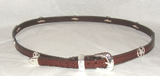 This Silver Western Star on Brown leather cowboy hat band is hand made in the USA with genuine leather and western star concho accents that really adds style to any cowboy or cowgirl hat.