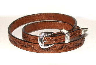 Brown Tooled Leather Silver Buckle Cowboy Hat Band