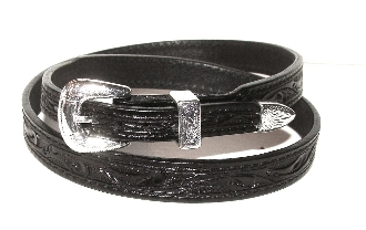 This Black tooled leather Silver buckle cowboy hat band is hand made in the USA with genuine leather and a sterling silver belt buckle closure a great western hat band for cowboys or cowgirls.