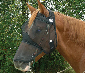 This Quiet Ride Long Nose Horseback Riding Horse Fly Mask is great to keep the bugs and flies out of your equines eyes so you can focus on a great ride without the head tossing and irritation of bugs swarming
