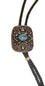 "The ""Old Charlie"" Turquoise Horse Hair bolo tie Tassel is made in the USA with cruelty free horse hair in a 42"" long bolo string with silver concho and turquoise stone a cowboy western look for any occasion."
