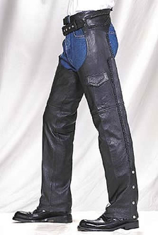 Braided Edge Naked Leather Work Chaps