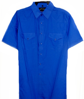 This Mens Short sleeve Royal Blue western shirt has the great cowboy pearl snaps and western yokes made for big and tall men from small to 4xl or big