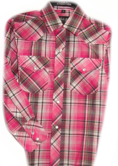 This Mens Raspberry and Black plaid western shirt is a classic cowboy country comfortable western shirt with western yokes and easy pearl snaps for a country fair or everyday wear.