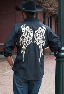 This Mens Embroidered Wings Black Western shirt has a large detailed back embroidered wing with studs with front pockets and pearl snaps. the picture just does not do this mens cowboy shirt the justice it deserves.