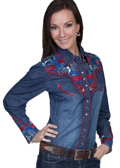 "This""American Cowgirl"" Scully womens Gunfighter western shirt with embroidered red and blue floral top and back yokes with twisted piping and smiley pockets closed up with matching pearl snaps make a great country western shirt for the ladies."