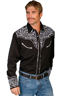 This Mens Scully White Rockabilly Scroll Black Western Shirt has detailed white embroidered thick piping on this modern looking western shirt with the smiley pockets and black pearl snaps.