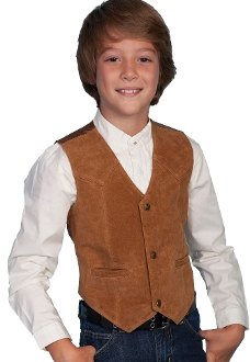 This Scully Kids Bourbon Boar Suede Western vest is perfect for a western wedding and matches the mens same boar suede vest just like dads and grandpas cowboy vest.
