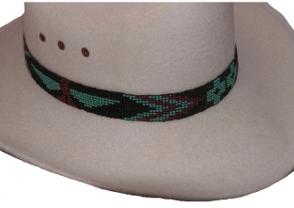 This turquoise beaded hat band has a native Fire Bird design beaded with turquoise red and black beads with a fine detailed band for cowboys and cowgirls each bead is hand made and hand strung with an easy stretch band to fit all cowboy hats.