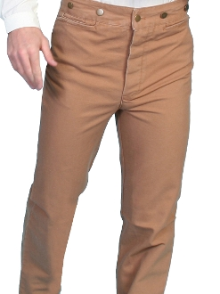 These Mens Rangewear brown Cotton Canvas suspender pants worn by men and women with notched waist suspender buttons adjustable rear belt closure single pocket for the old western frontier pants cowboy shooters