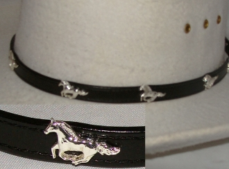 "This ""Mustang"" Black leather cowboy hat band is hand made in the USA with real leather and sterling silver plated conchos with a sterling silver belt buckle closure a great western hat band for cowboys or cowgirls."
