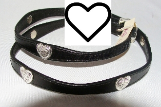 "The ""My Hearts"" Black leather cowboy hat band is hand made with silver heart conchos and a silver belt buckle closure that really adds style to any cowboy or cowgirl hat a great rodeo show stopper."