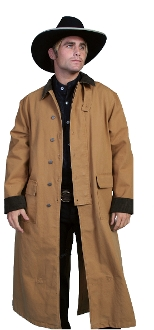 This Scully Brown Canvas Authentic Frontier Duster is a 3/4 Length Classic authentic canvas duster with corduroy collar and cuffs. It also features metal buttons, saddle gusset and inside leg straps for bad weather riding.