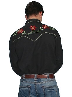 "This ""Christmas Poinsettia"" Mens Scully Black Western Shirt is the perfect Christmas Cowboy shirt for men with pearl snaps and smiley pockets embroidered with red flowers and green vines."