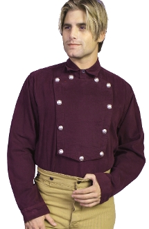 Mens Scully Wahmaker Burgundy Cavalry bib shirt has authentic star buttons and 100% Cotton cavalry bib shirt made in the USA reminiscent of the frontier days a great cowboy shirt with the real bib and buttons and old west look.