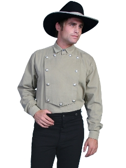 Mens Scully Wahmaker Tan Cavalry bib shirt has authentic star buttons and 100% Cotton cavalry bib shirt made in the USA reminiscent of the frontier days a great cowboy shirt with the real bib and buttons and old west look.
