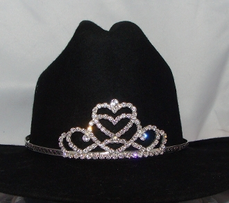 This Jr. Miss Hearts Rhinestone Cowboy hat tiara USA made fits all sizes of cowboy hats for your Rodeo Queen cowgirl hat tiara made of rhinestones perfect for the rodeo crown on a cowboy hat princess tiara cowgirl.