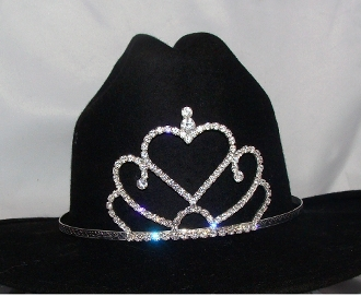 """Princess Hearts"" Rhinestone Cowboy hat tiara is proudly made in the USA for the queen of the rodeo to be crowned by this cowboy hat tiara is an exciting look an any cowgirl competing to be the horse show winner."