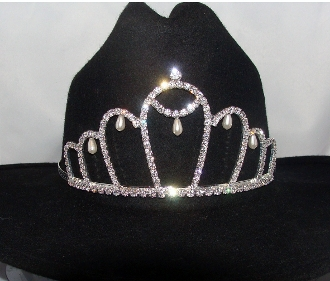 """Queen of Pearls"" Rhinestone, Pearls Cowboy hat tiara is proudly made in the USA for the queen of the rodeo to be crowned by this cowboy hat tiara is an exciting look an any cowgirl competing to be the horse show winner."