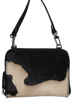 "This Black White Hair on Hide Scully Leather Small Cross-body Handbag is a beautifully rich cow hair on a soft calf leather handbag for women. This western bag is a 5"" x 4"" x 5"" purse size."