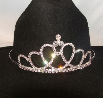 """Circle of Love"" Rhinestone Cowboy hat tiara is proudly made in the USA for the queen of the rodeo to be crowned by this cowboy hat tiara is an exciting look an any cowgirl competing to be the horse show winner."