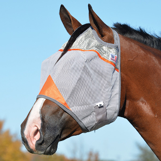 "This ""Animal Rescue"" Crusader UV Rated Orange Horse Fly Mask blocks 70% of the sun's rays protecting your horse with a unique design that stays put while your horse is stalled or turned out in the pasture"