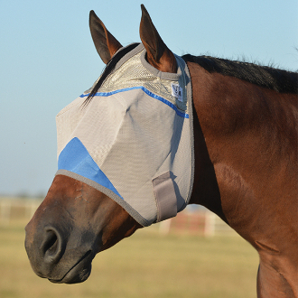 "This ""Wounded Warrior"" Crusader UV Rated Blue Horse Fly Mask blocks 70% of the sun's rays protecting your horse with a unique design that stays put while your horse is stalled or turned out in the pasture"