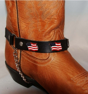 PAIR- USA American Flag Cowboy Boot Chains, usa flag Cowboy boot chains, Cowboy boot chains, flag cowboy boot harness, confederate cowboy boot jewelry