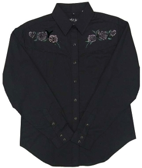This Womens Rose Embroidered Pearl Snap Black Western Shirt has roses on the front and back including the vintage piping and retro pearl snaps. It's a cowgirl western classic shirt.