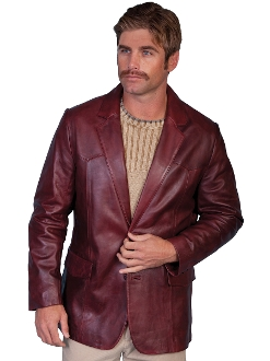 This Mens Scully Black Cherry Lambskin Leather Western blazer comes in long and extra long sizes for mens big n tall cowboys