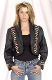 This Black leather Native Beaded Womens Bolero Western Jacket is a western favorite to throw on before a country western concert or a cowgirl hoedown even wear it to your favorite line dance for all cowgirls.