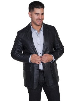 This Mens Scully Black Lamb leather 'Rancher' western blazer has vintage reverse smile detail on chest. whip stitch treatment on front and lapels, detail stitching on flap pockets with Acetate lining and 2 inside pockets.