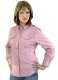 Womens Lined Button Down Snap Pink Leather Western Shirt