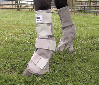 The UV Rated Gray Horse Leg Guards blocks 70% of the sun's rays protecting your horse with a unique design that stays put while your horse is stalled or turned out in the pasture.