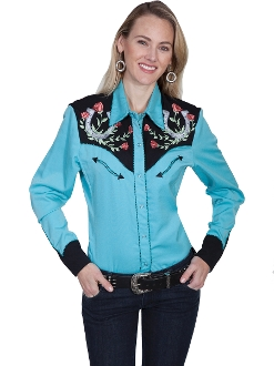 "This Scully women's Turquoise ""Winners Circle"" western shirt is a popular matching western shirt for his and hers matching shirts with embroidered horse shoes and red roses with twisted piping and smiley pockets"