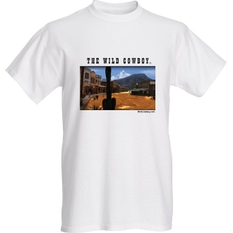 """The Wild Cowboy"" Mens White short sleeve western Town T-shirt, the wild cowboy t shirt, western t shirt for men, mens western tshirts, cowboy western tee shirts, western tees, mens western shirts"