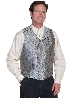 This Scully Mens Grey Wide Notched Lapel Paisley Dress Vest has extra wide button down notched lapels a double breasted front 2 welt pockets 100% polyester paisley scroll front. Steampunk vest for men.