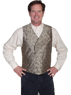This Scully Mens Taupe Notched Lapel Double Breasted Paisley Vest has extra wide button down notched lapels a double breasted front 2 welt pockets polyester paisley scroll front. Steampunk vest for men.