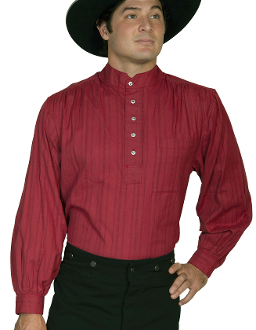 This Mens Scully Burgundy Tombstone pull over banded collar shirt is a Lightweight pullover shirt. Great shirt for casual or dress. Tombstone collar with tab for a tie.