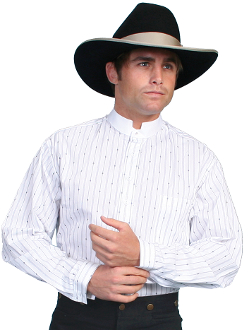 This Mens Scully Tombstone White Banded Collar Pull Over Shirt is a great shirt for dress up or casual wear. The white shirt has a matching tombstone collar with collar stud.