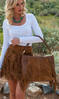 This Scully Brown Leather Suede Fringe Western Handbag Purse is a roomy western bag with full fringe and a two tone leather design.