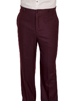 This Mens Scully 1800's Burgundy Gentlemen Pants are made in the USA. These are the pants you'll want for those special occasions. They feature a button fly, two side entry pockets and suspender buttons.