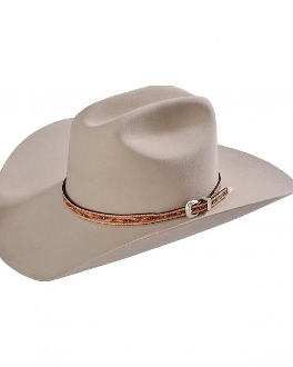 This Buckskin natural tooled leather Silver buckle cowboy hat band is hand made in the USA with genuine leather and a sterling silver belt buckle closure a great western hat band for cowboys or cowgirls.