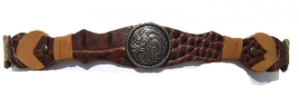 Brown Gator Leather Tie Cowboy Hat Band
