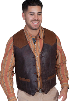 This Mens Scully 2 Tone Expresso Brown Suede Western Vest features a whip stitch throughout. It has single point yokes front and back that are suede with a contrasting pick stitch trim.