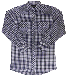 This Mens Purple Plaid Longsleeve Pearl Snap Western Shirt is a classic cowboy country comfortable western shirt with western yokes and easy pearl snaps for a country fair or everyday wear.
